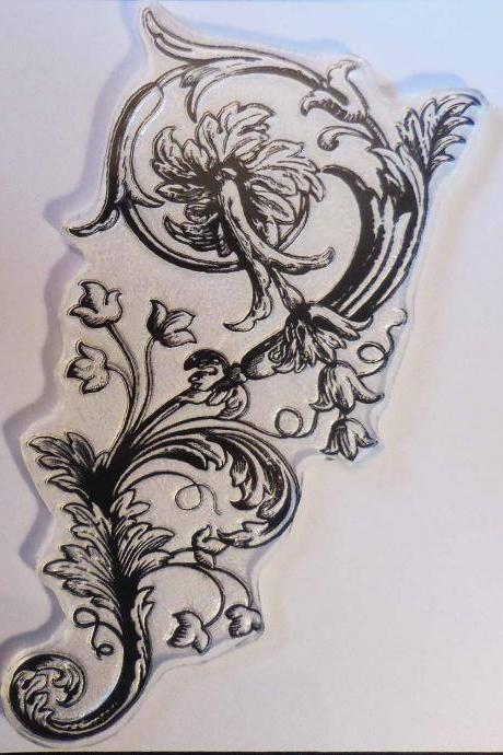 Floral Flourish Clear Stamp, Art Stamps, Alura's Stamps for the Displaced Victorian, TJSD